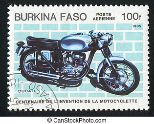 motorcycle - BURKINA FASO - CIRCA 1985: stamp printed by...