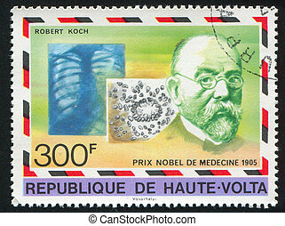 Robert Koch - BURKINA FASO - CIRCA 1977: stamp printed by...