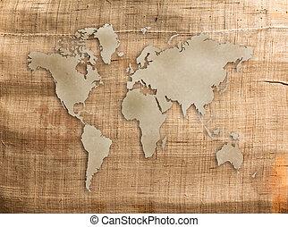 Segeltuch, altes, Beschaffenheit, hintergrund, Welt,  Grunge