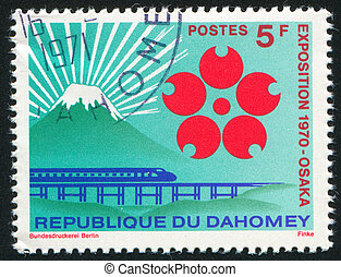 Monorail Train - DAHOMEY CIRCA 1970: stamp printed by...
