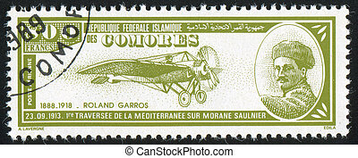 Roland Garros - COMORO ISLANDS - CIRCA 1988: stamp printed...