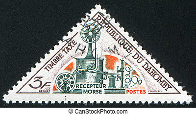 Morse receiver - DAHOMEY CIRCA 1967: stamp printed by...
