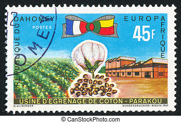 Cotton industry - DAHOMEY CIRCA 1969: stamp printed by...