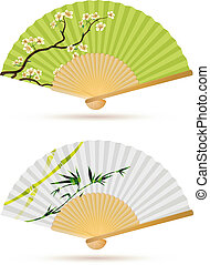 two japanese folding fans - Vector illustration of two...