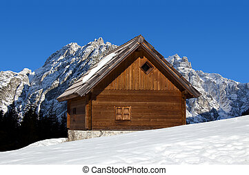 Mountain chalet in winter - Italy A - Wooden chalet in...