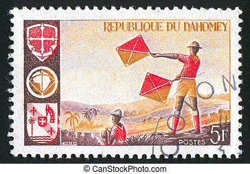 Boy Scout Signaling - DAHOMEY CIRCA 1966: stamp printed by...