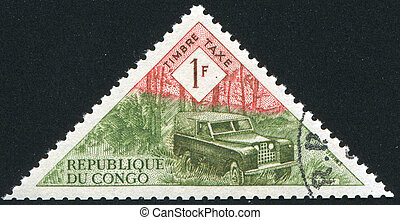 Land Rover - CONGO CIRCA 1961: stamp printed by Congo, shows...