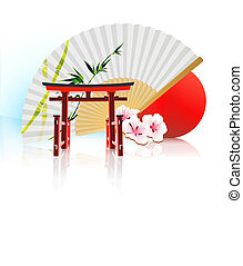 Decorative Japanese background - Vector illustration of...