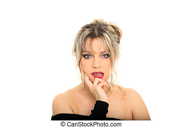 beautiful blond hair woman portrait