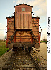 Auschwitz-Birkenau Concentration Camp - Train wagon in...