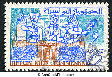 Tunisia - TUNISIA - CIRCA 1960: stamp printed by Tunisia,...