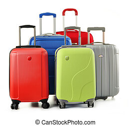 Suitcases isolated on white - Luggage consisting of...