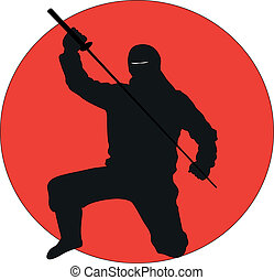 Ninja silhouette - Silhouette illustration of a Ninja on a...