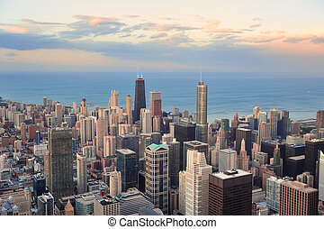 Chicago skyline at sunset - Chicago downtown aerial panorama...