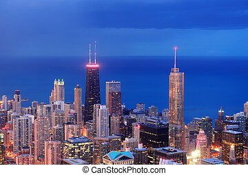 Chicago aerial view at dusk - Chicago downtown aerial view...