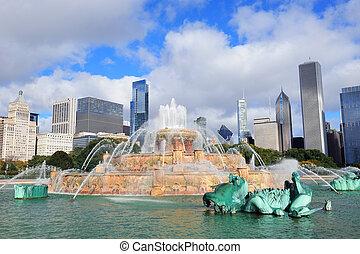Chicago Buckingham fountain - Chicago skyline panorama with...