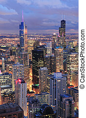 Chicago skyline panorama aerial view with skyscrapers with...