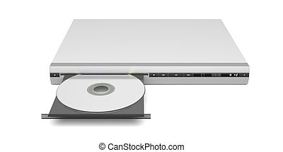 Front view of disc player with open tray