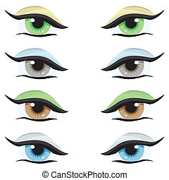 Vector set Eyes of different colors on a white background