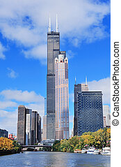 Chicago downtown skyline - Chicago city downtown urban...