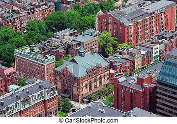 Boston architecture - Boston downtown aerial view with...