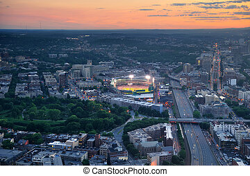 Boston aerial view at sunset with cityscape and buildings