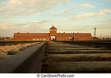 Auschwitz-Birkenau Concentration Camp - Entrance of the Nazi...