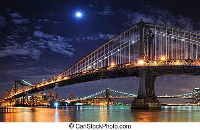 New York City Manhattan - Brooklyn Bridge and Manhattan...