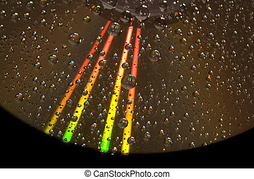 CD reflection water drops - CD reflection with water drops...