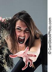 Beauty Brunette Girl - Beauty young woman screaming portrait