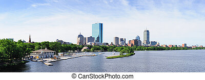 Boston back bay panorama with sailing boat and urban...
