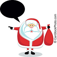 Cartoon Santa with speech bubble holding red bag and...