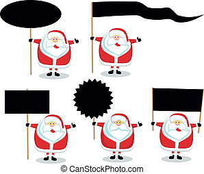 Santas with blank signs - Cartoon Santas holding different...