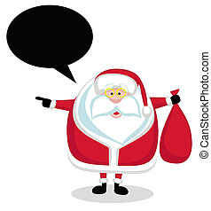 Cartoon Santa with speech bubble holding red bag and pointing left