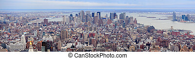 New York City Manhattan downtown skyscrapers panorama aerial...