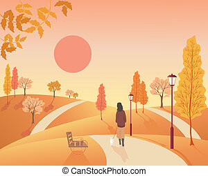 autumn park - illustration of a woman walking her dog...