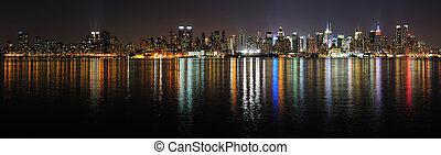 New York City Manhattan midtown skyline panorama at night...