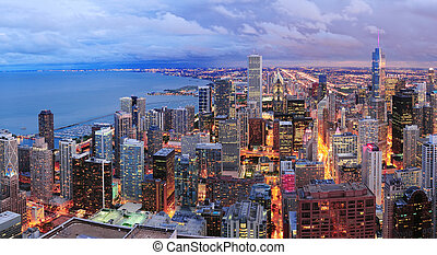 Chicago skyline panorama aerial view with skyscrapers over...