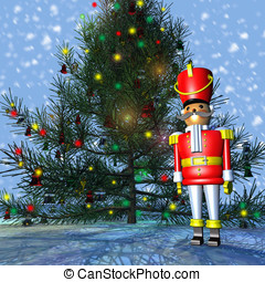 Toy Soldier Christmas Tree - Bright colorful Toy Soldier...