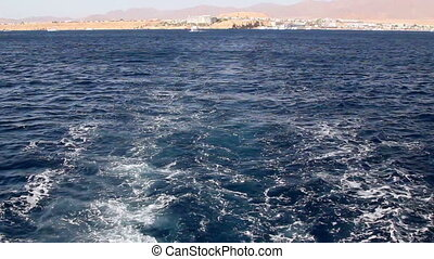 Prop wash from boat on the Red Sea.