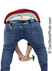 Plumbers crack - Humor concept: typical funny shot of a...