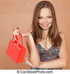 Girl with very small shopping bag