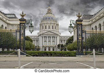 Stormy Sky over San Francisco City Hall Civic Center...