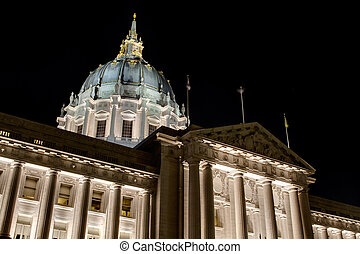 San Francisco City Hall at Night - San Francisco City Hall...