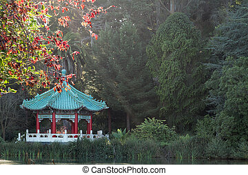 Chinese Pavilion at San Francisco Golden Gate Park in...