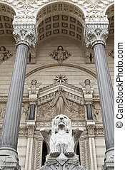 Detail of facade Lyon Cathedral