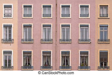 Antique residential house facade, Lyon, France