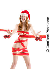 Sexy Christmas gift - seductive naked Mrs. Claus