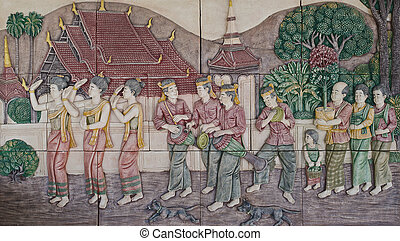 native culture Thai stucco on the temple wall, Thailand