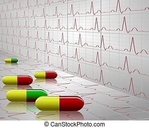 Tablets and ECG - A number of colorful tablets with an ECG...